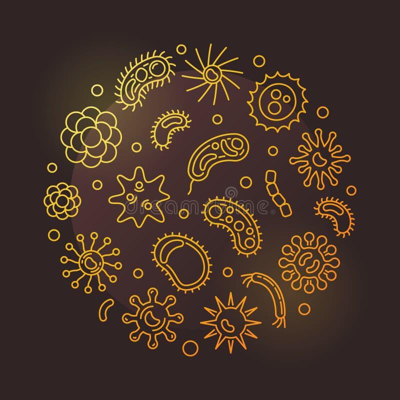 Agent pathogène et virus autour d'illustration d'or d'ensemble de vecteur illustration de vecteur