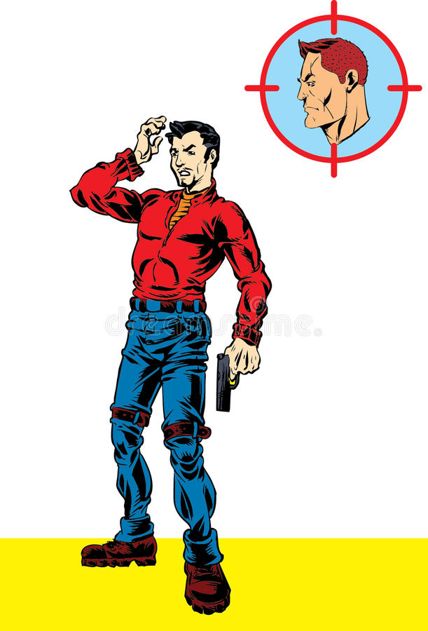 Agent secret avec l'arme à feu et le bandit illustration de vecteur
