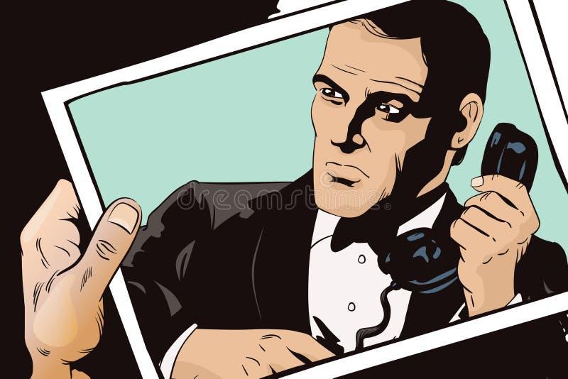 Agent secret sur une mission Les gens dans le rétro style illustration libre de droits
