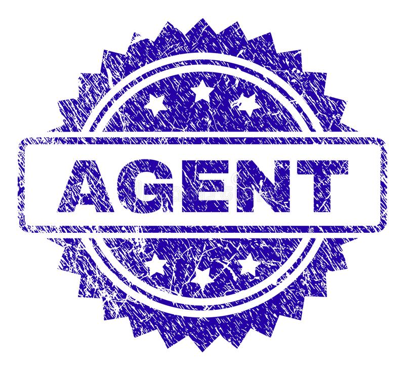 Scratched AGENT Stamp Seal. AGENT stamp watermark with scratched style. Blue vector rubber seal print of AGENT caption with scratched texture royalty free illustration