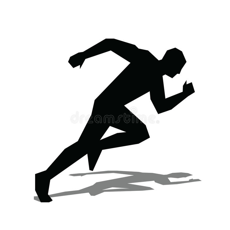 Agent vlak pictogram Lopend mensen vectorsilhouet stock illustratie