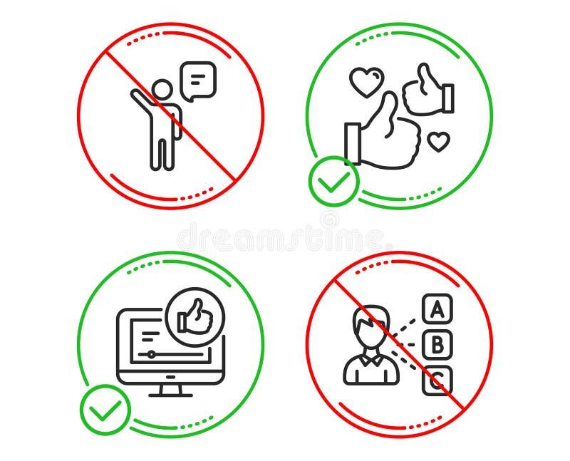 Agente, como y como los iconos video fijados Muestra de la opini?n La persona del negocio, manosea con los dedos para arriba, eli ilustración del vector