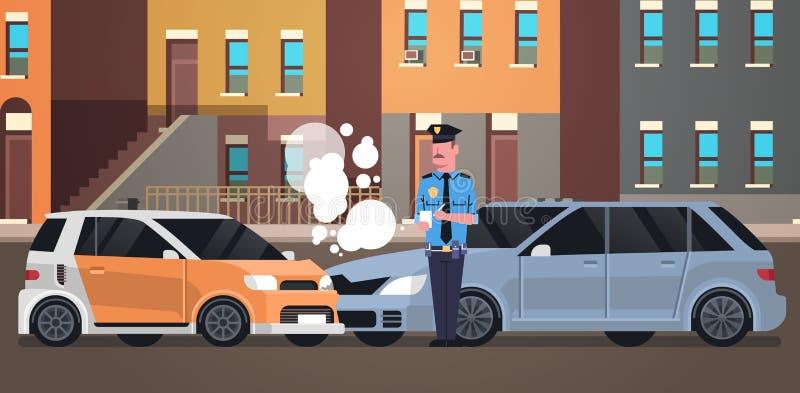 Agente da polícia deixado de funcionar do acidente de viação do carro no uniforme que emite construções finas legais da cidade do ilustração do vetor