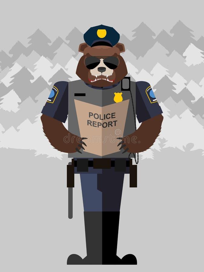 Agente da polícia do urso Ilustração do vetor ilustração stock