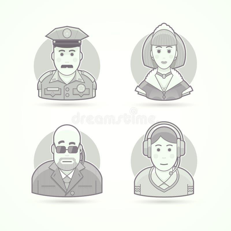 Agente da polícia, empregada doméstica, protetor do corpo, ícones do operador da chamada Ilustrações do Avatar e da pessoa ilustração do vetor