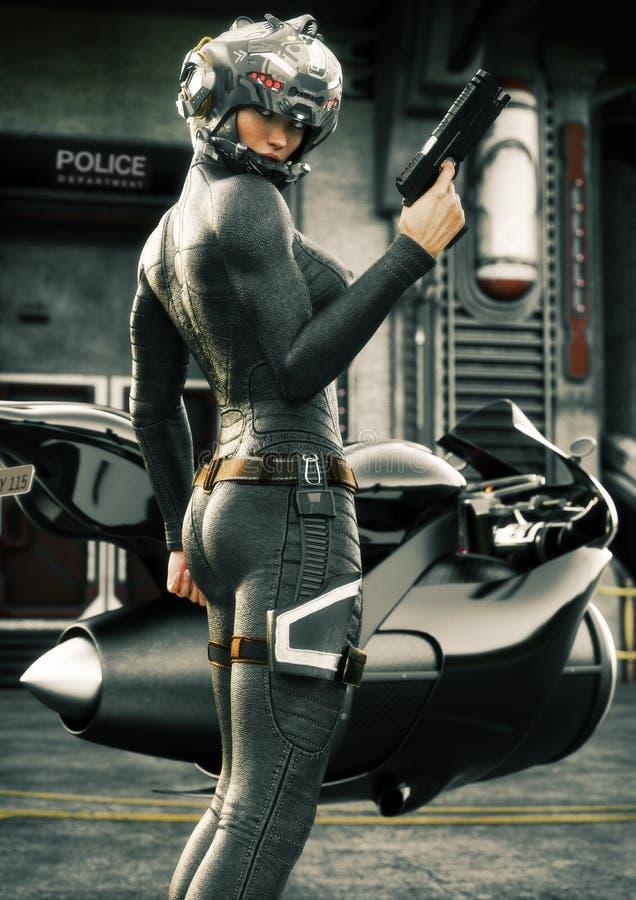Agente da polícia fêmea da ficção científica que levanta na frente de seus bicicleta do jato, capacete vestindo e uniforme ilustração stock