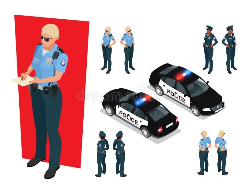 Agente da polícia isométrico no uniforme e no carro de polícia Ilustração do vetor no fundo branco Oficial de polícia ilustração royalty free