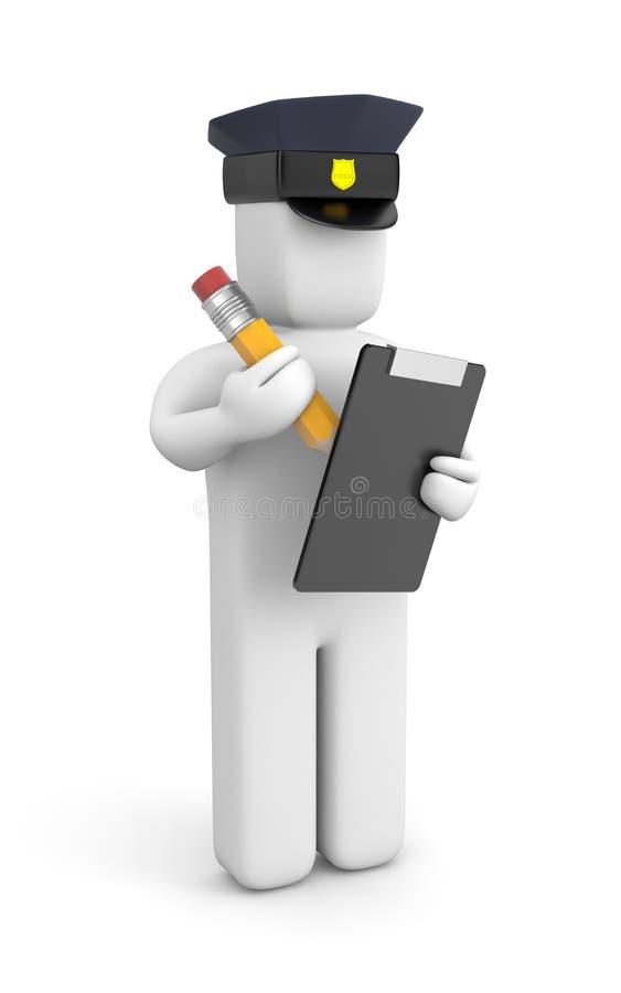 Agente da polícia que escreve um bilhete ilustração stock