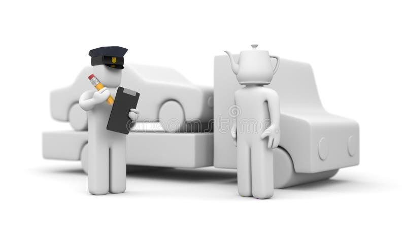 Agente da polícia que reboca o automóvel do motorista da cabeça do manequim ilustração stock