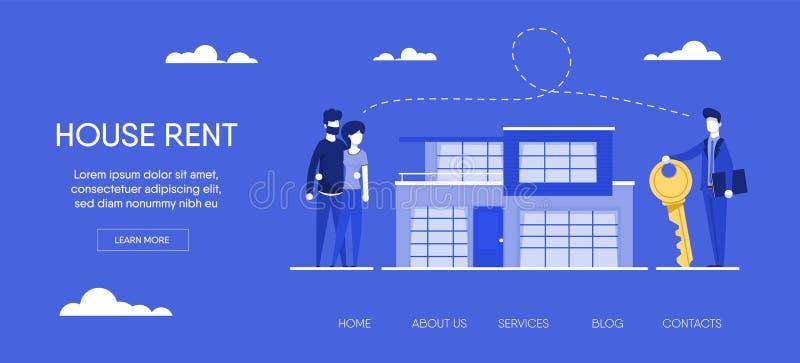 Agente de la propiedad inmobiliaria con la familia joven ilustración del vector