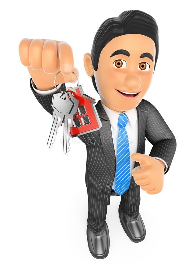 agente de la propiedad inmobiliaria 3D que entrega las llaves de una nueva casa libre illustration
