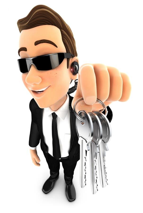 agente de segurança 3d que guarda um grupo de chaves ilustração do vetor