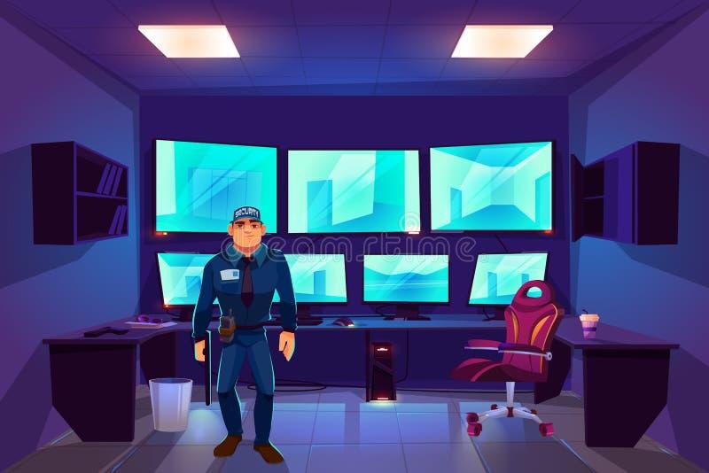 Agente de segurança na sala do cctv do controle com monitores ilustração royalty free