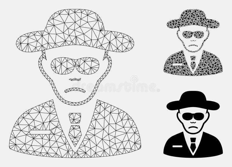 Agente de seguridad Vector Mesh Carcass Model e icono del mosaico del triángulo libre illustration