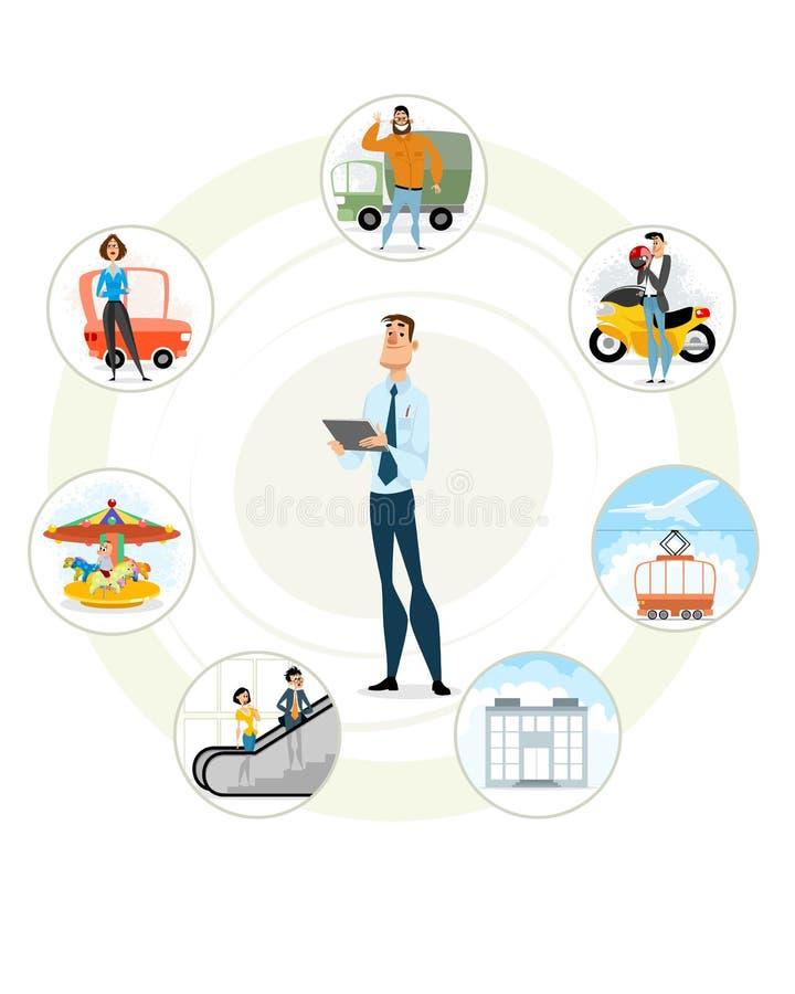 Agente de seguro y acontecimientos asegurados stock de ilustración