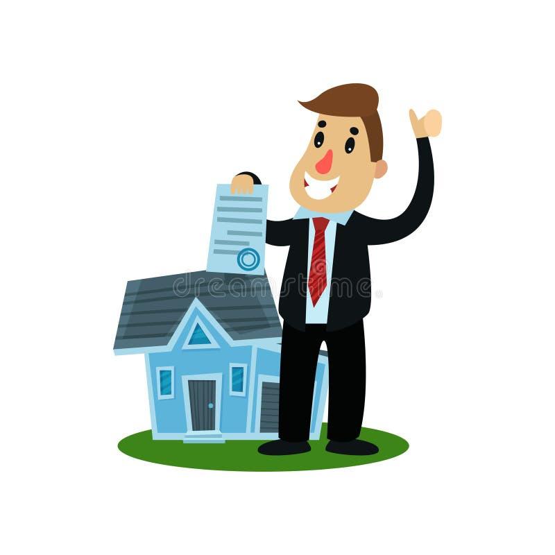 Agente de seguros gigante que mostra o original que está perto da casa pequena, ilustração do vetor do seguro patrimonial ilustração stock