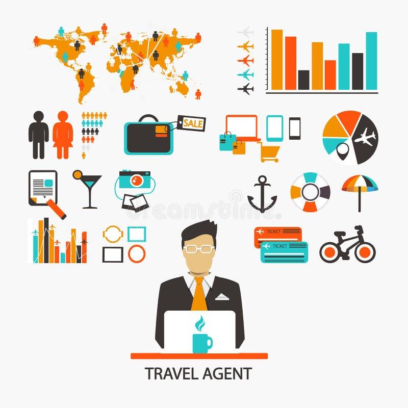 Agente de viajes Infographic stock de ilustración