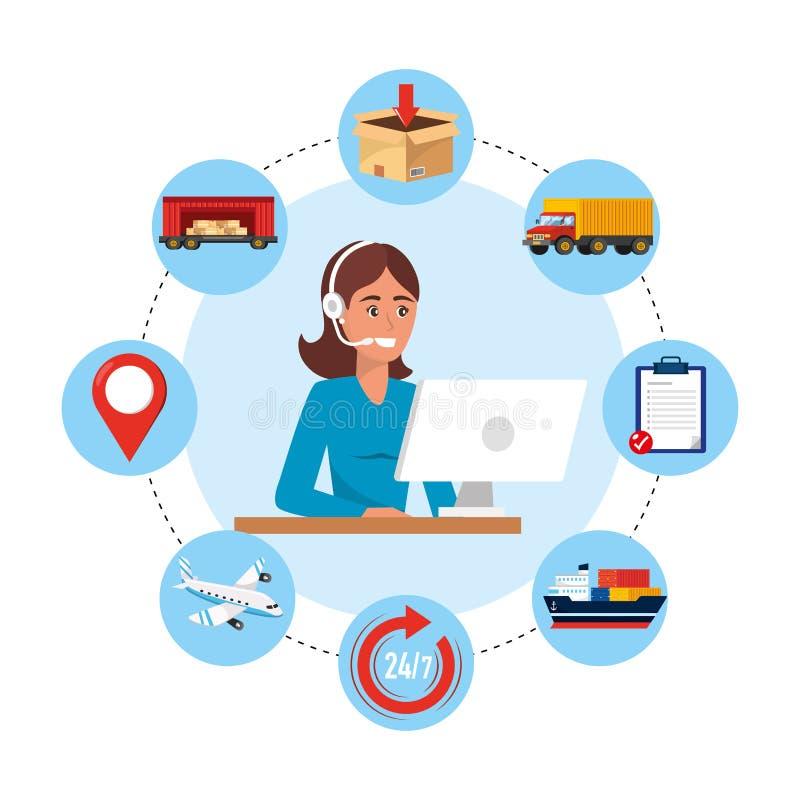 Agente del centro de atención telefónica de la mujer con el ordenador y el servicio de entrega stock de ilustración