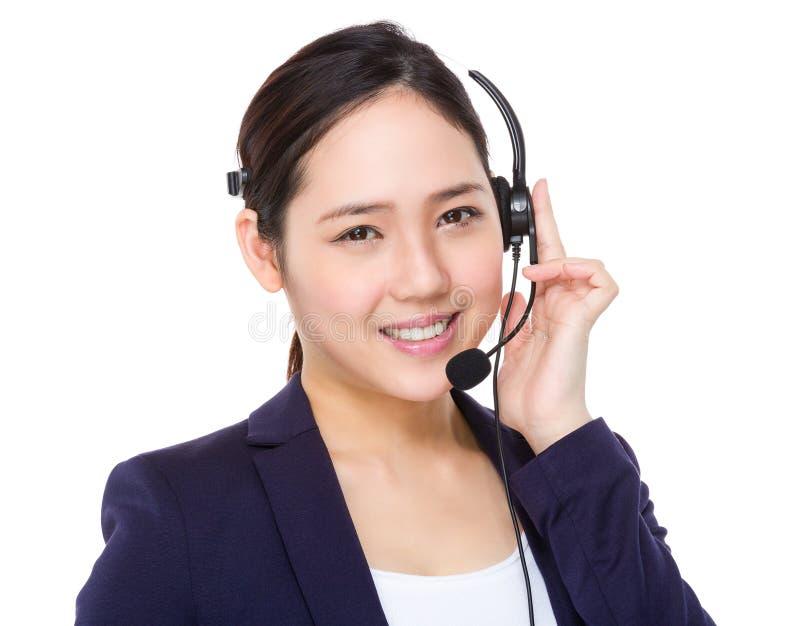 Download Agente della call center immagine stock. Immagine di cuffia - 55356509