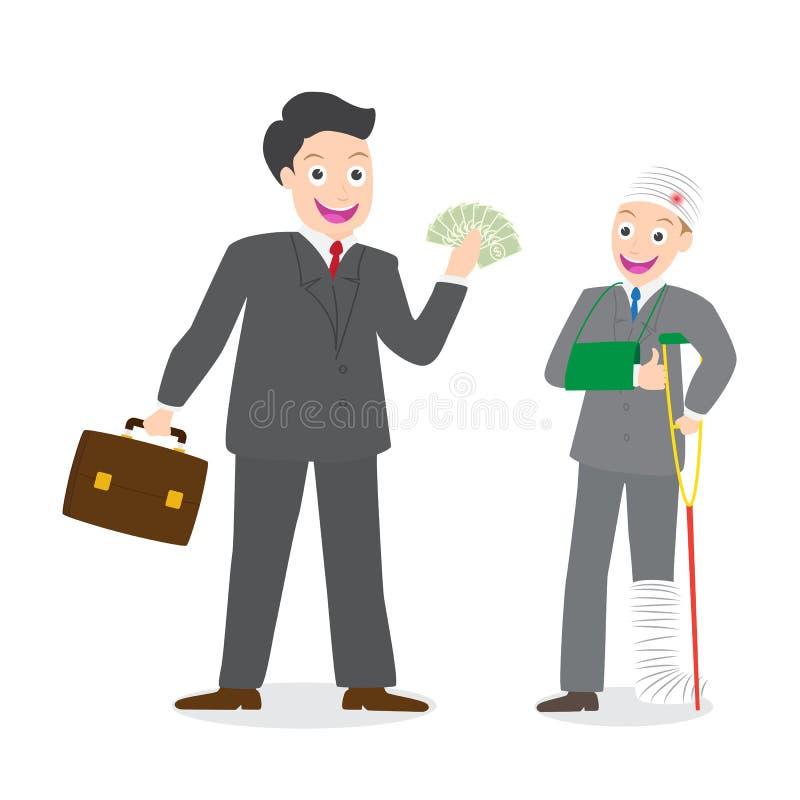 Agente di assicurazione che paga i soldi della compensazione all'uomo d'affari danneggiato illustrazione vettoriale