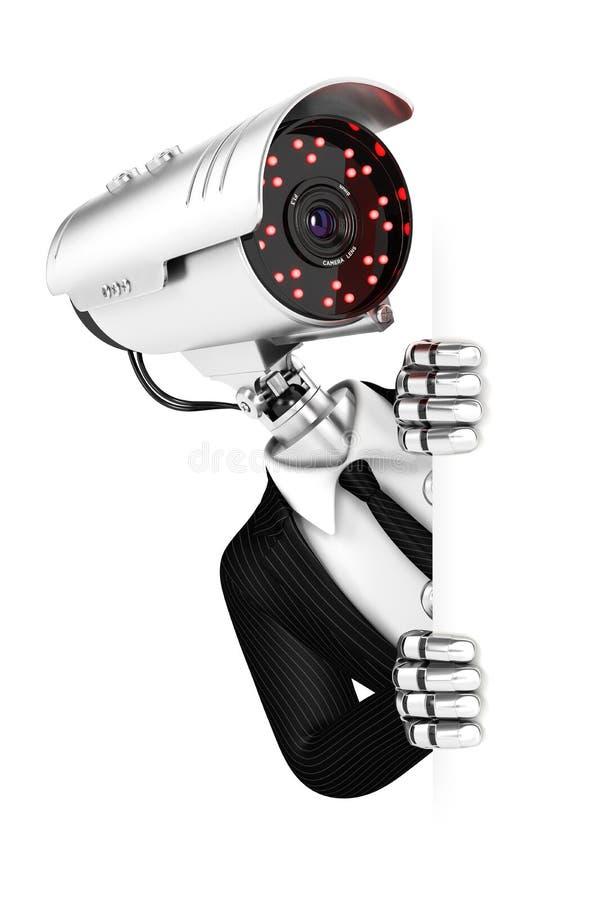 agente di sicurezza 3d con il capo di macchina fotografica che sbircia sopra la parete in bianco fotografia stock