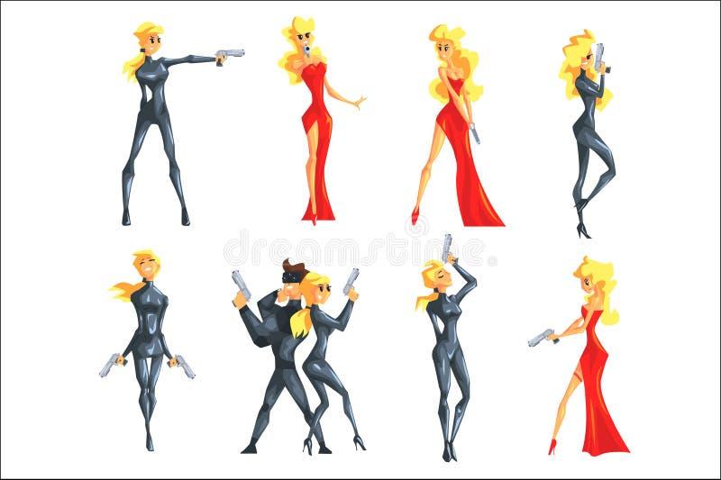 Agente femenino Undercover del servicio secreto Activo de la mujer rubia atractiva en vestido de lujo rojo y de servicio profesio libre illustration