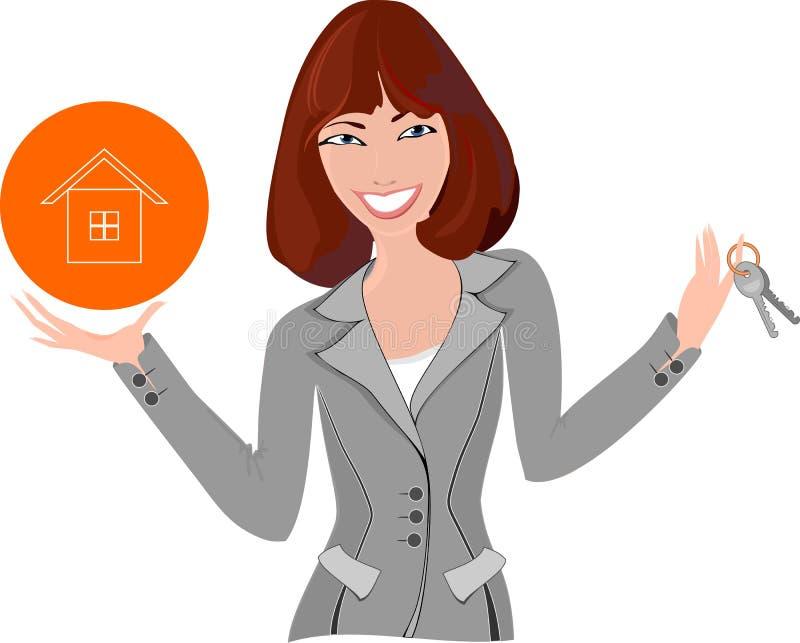 Agente immobiliare con il modello della casa illustrazione di stock