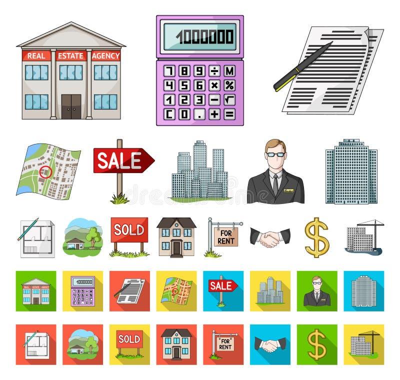 Agente immobiliare, fumetto dell'agenzia, icone piane nella raccolta stabilita per progettazione Comprando e vendendo il bene imm illustrazione vettoriale