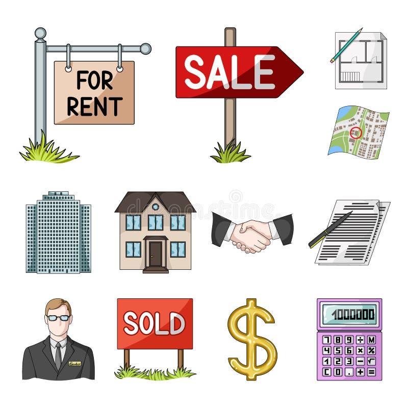 Agente immobiliare, icone del fumetto dell'agenzia nella raccolta dell'insieme per progettazione Comprando e vendendo il bene imm royalty illustrazione gratis