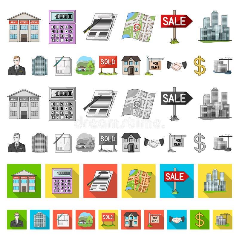 Agente immobiliare, icone del fumetto dell'agenzia nella raccolta dell'insieme per progettazione Comprando e vendendo il bene imm illustrazione vettoriale