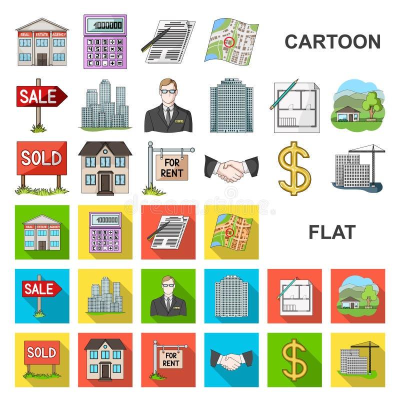 Agente immobiliare, icone del fumetto dell'agenzia nella raccolta dell'insieme per progettazione Comprando e vendendo il bene imm illustrazione di stock
