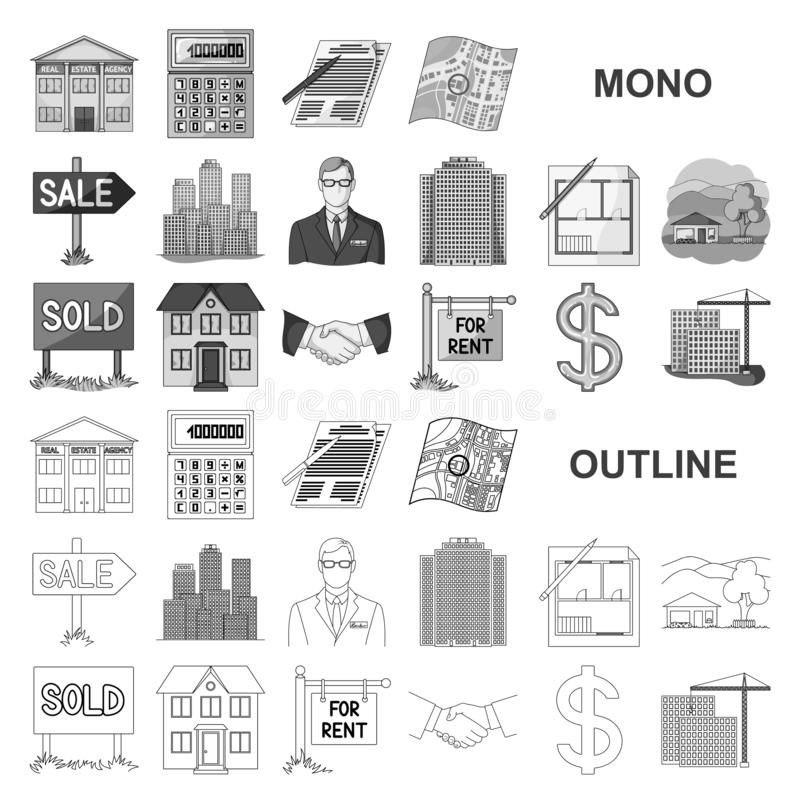 Agente immobiliare, icone del monochrom dell'agenzia nella raccolta stabilita per progettazione Comprando e vendendo il bene immo royalty illustrazione gratis