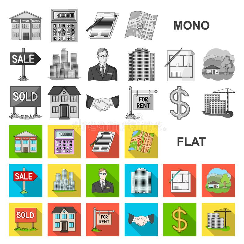 Agente immobiliare, icone piane dell'agenzia nella raccolta dell'insieme per progettazione Comprando e vendendo il bene immobile  illustrazione di stock