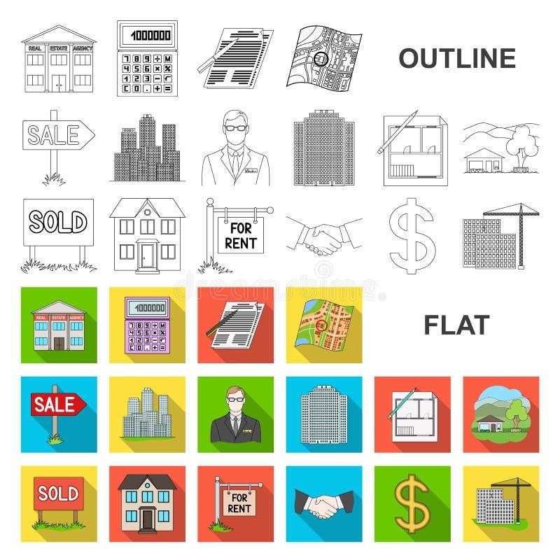 Agente immobiliare, icone piane dell'agenzia nella raccolta dell'insieme per progettazione Comprando e vendendo il bene immobile  royalty illustrazione gratis
