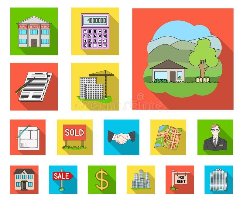 Agente immobiliare, icone piane dell'agenzia nella raccolta dell'insieme per progettazione Comprando e vendendo il bene immobile  illustrazione vettoriale