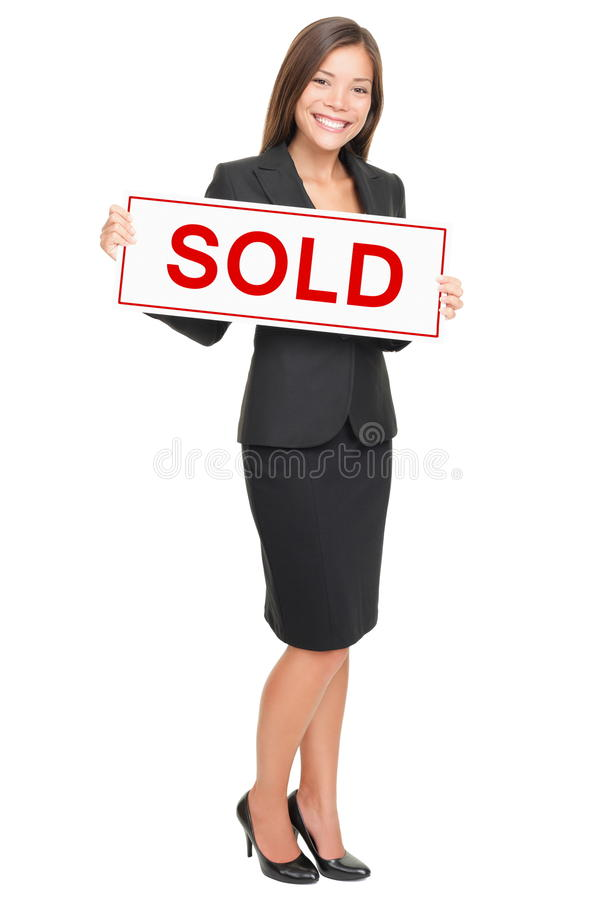 Agente immobiliare isolato su priorità bassa bianca immagine stock