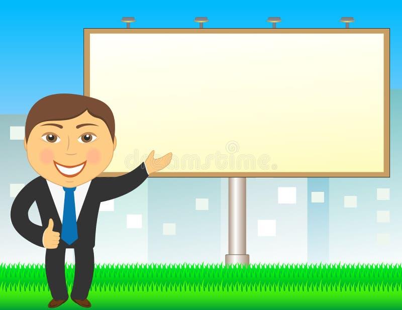 Agente immobiliare sulla città che mostra sul tabellone per le affissioni illustrazione vettoriale