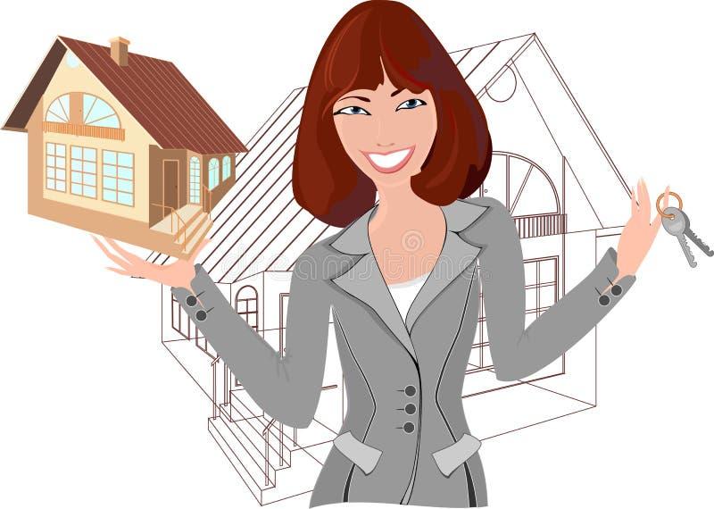 Agente inmobiliario con el modelo de la casa ilustración del vector