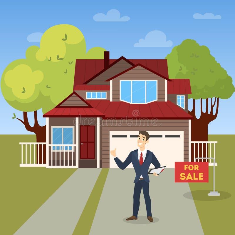 Agente inmobiliario Concept Ofrecimiento de la venta de la casa libre illustration