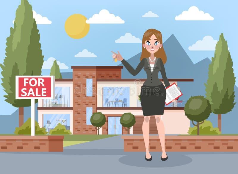 Agente inmobiliario Concept Ofrecimiento de la venta de la casa stock de ilustración