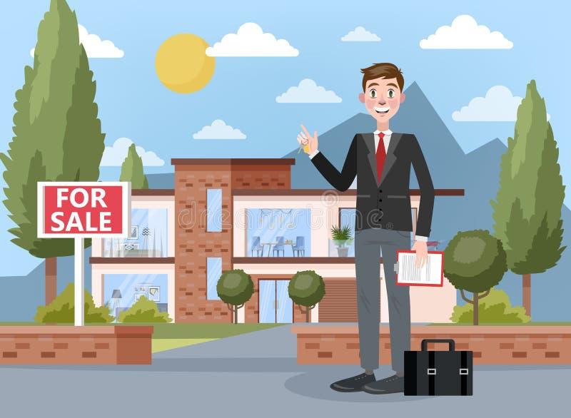 Agente inmobiliario Concept Ofrecimiento de la venta de la casa ilustración del vector
