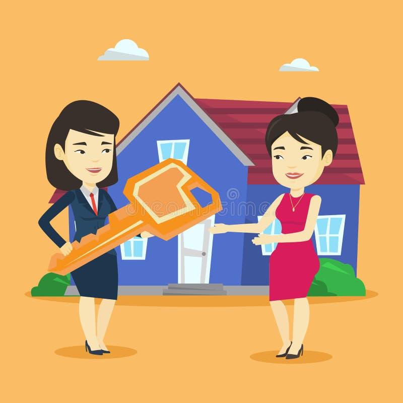 Agente inmobiliario que da llave al dueño de nueva casa stock de ilustración