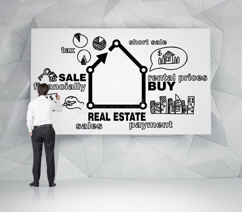 Agente inmobiliario que dibuja las propiedades inmobiliarias fotografía de archivo libre de regalías