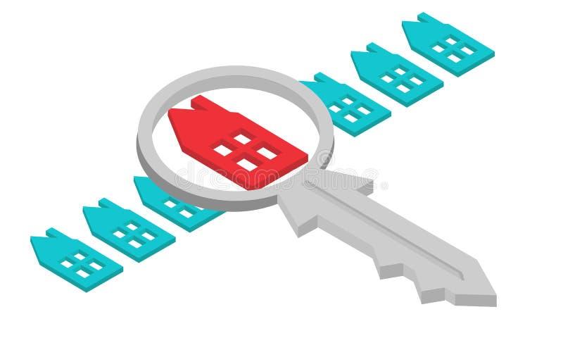 Agente inmobiliario que encuentra su hogar con la lupa Concepto del vector stock de ilustración