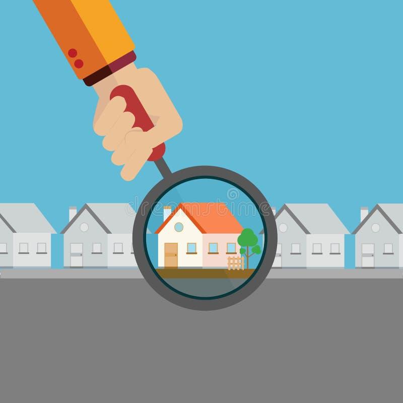 Agente inmobiliario que encuentra su hogar ideal con un concepto del vector de la lupa ilustración del vector