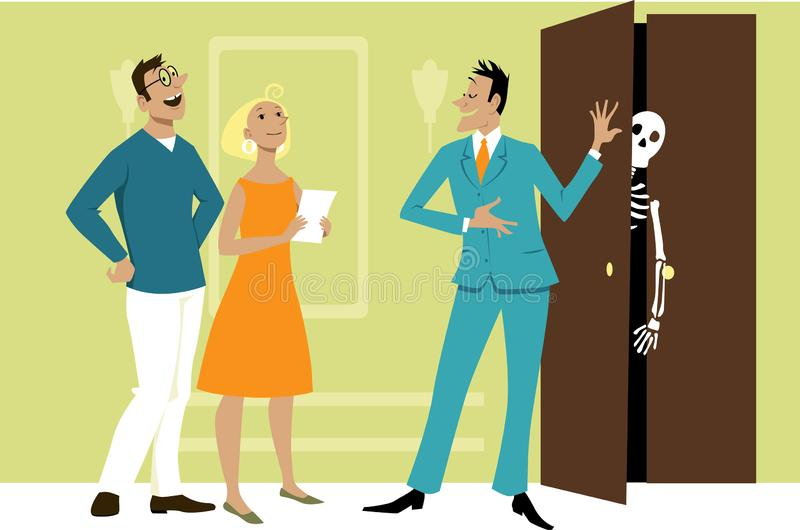 Agente inmobiliario que oculta la verdad stock de ilustración