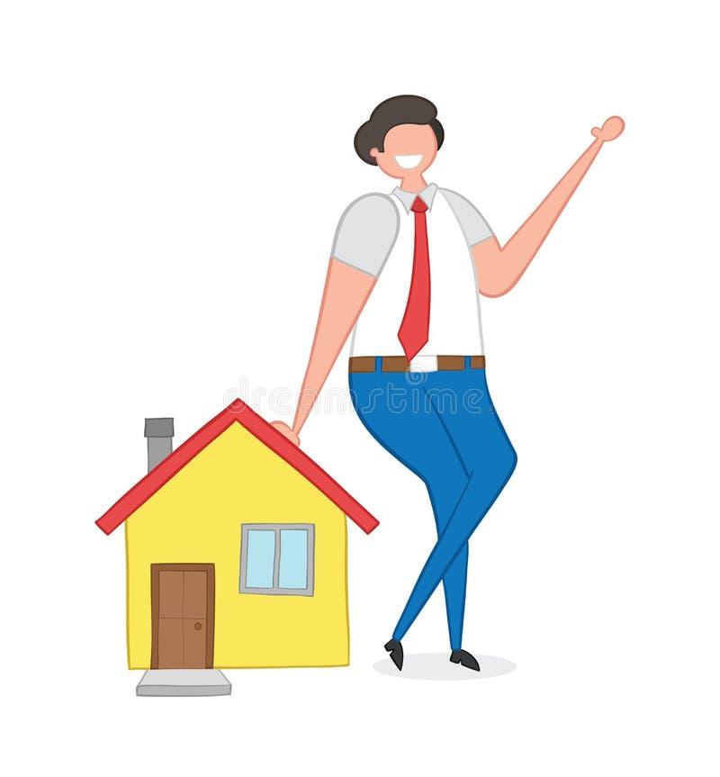 Agente inmobiliario que se inclina en la casa, ejemplo a mano del vector stock de ilustración