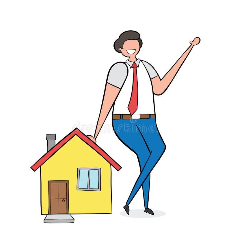 Agente inmobiliario que se inclina en la casa, ejemplo a mano del vector Esquemas traseros, color ilustración del vector