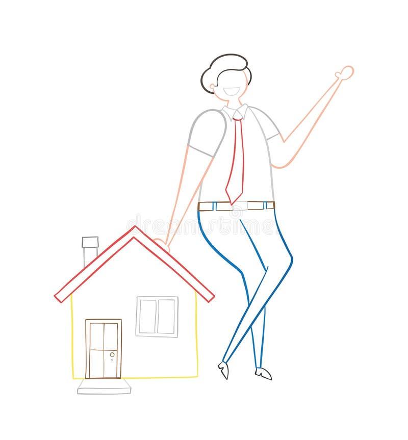 Agente inmobiliario que se inclina en la casa, ejemplo a mano del vector ilustración del vector