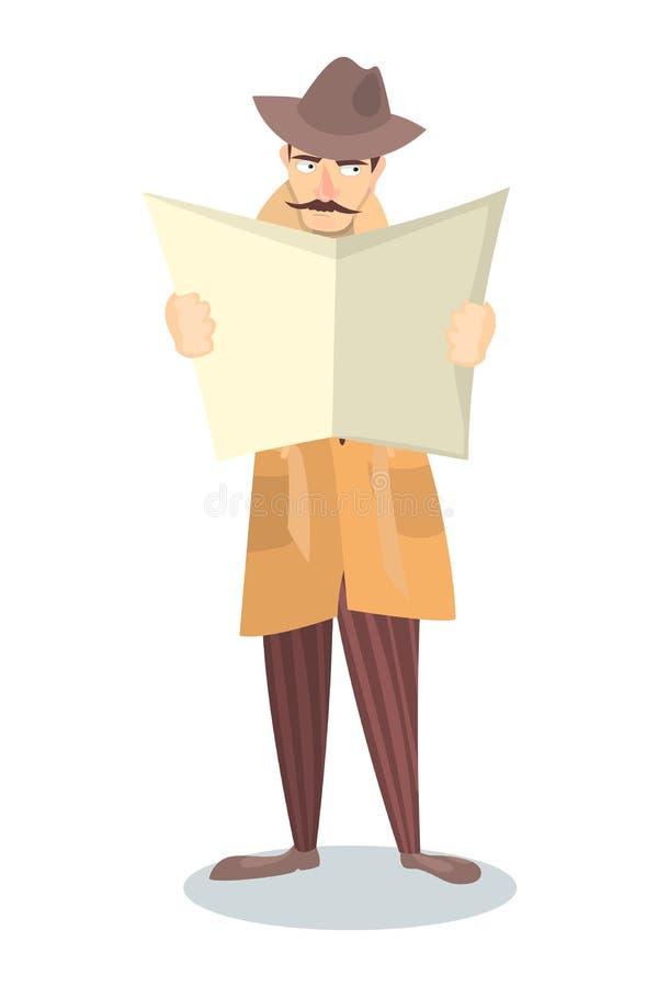 Agente investigativo con il giornale illustrazione di stock